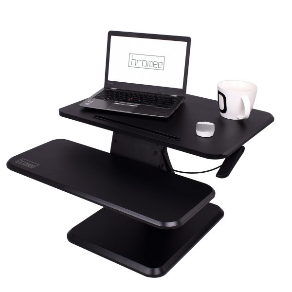 Hromee Height Adjule Standing Desk Sit To Stand With Keyboard Tray Workstation Converter For Desktop Laptop
