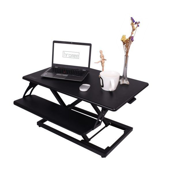 Hromee Standing Desk Converter Height Adjustable Sit to Stand for Computer  Desktop Laptop Pre-Assembled Keyboard Tray Black - Hromee